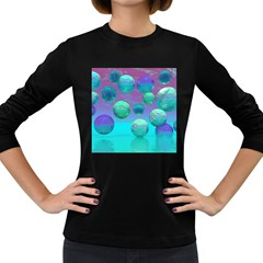 Ocean Dreams, Abstract Aqua Violet Ocean Fantasy Women s Long Sleeve T-shirt (Dark Colored)