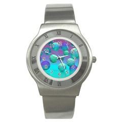 Ocean Dreams, Abstract Aqua Violet Ocean Fantasy Stainless Steel Watch (Slim)