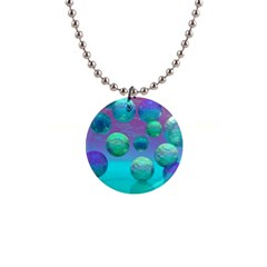 Ocean Dreams, Abstract Aqua Violet Ocean Fantasy Button Necklace