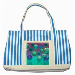 Ocean Dreams, Abstract Aqua Violet Ocean Fantasy Blue Striped Tote Bag