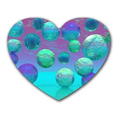 Ocean Dreams, Abstract Aqua Violet Ocean Fantasy Mouse Pad (Heart)
