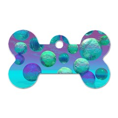 Ocean Dreams, Abstract Aqua Violet Ocean Fantasy Dog Tag Bone (One Sided)
