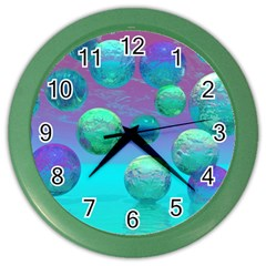 Ocean Dreams, Abstract Aqua Violet Ocean Fantasy Wall Clock (color)