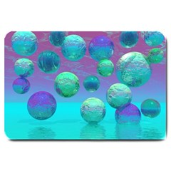 Ocean Dreams, Abstract Aqua Violet Ocean Fantasy Large Door Mat