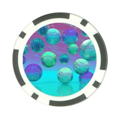 Ocean Dreams, Abstract Aqua Violet Ocean Fantasy Poker Chip (10 Pack)