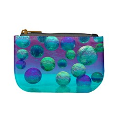 Ocean Dreams, Abstract Aqua Violet Ocean Fantasy Coin Change Purse