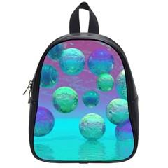 Ocean Dreams, Abstract Aqua Violet Ocean Fantasy School Bag (Small)