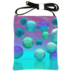Ocean Dreams, Abstract Aqua Violet Ocean Fantasy Shoulder Sling Bag