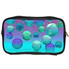 Ocean Dreams, Abstract Aqua Violet Ocean Fantasy Travel Toiletry Bag (One Side)