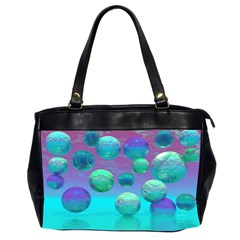 Ocean Dreams, Abstract Aqua Violet Ocean Fantasy Oversize Office Handbag (two Sides)