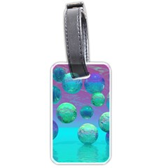 Ocean Dreams, Abstract Aqua Violet Ocean Fantasy Luggage Tag (One Side)
