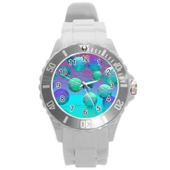Ocean Dreams, Abstract Aqua Violet Ocean Fantasy Plastic Sport Watch (large)