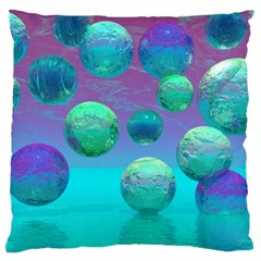 Ocean Dreams, Abstract Aqua Violet Ocean Fantasy Large Cushion Case (Two Sided)