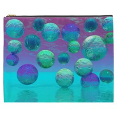 Ocean Dreams, Abstract Aqua Violet Ocean Fantasy Cosmetic Bag (xxxl)