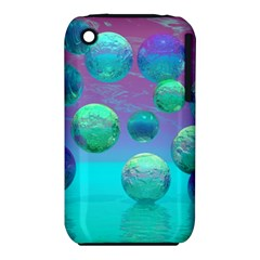 Ocean Dreams, Abstract Aqua Violet Ocean Fantasy Apple iPhone 3G/3GS Hardshell Case (PC+Silicone)