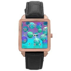 Ocean Dreams, Abstract Aqua Violet Ocean Fantasy Rose Gold Leather Watch
