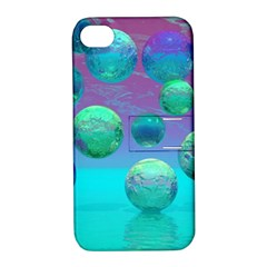 Ocean Dreams, Abstract Aqua Violet Ocean Fantasy Apple iPhone 4/4S Hardshell Case with Stand