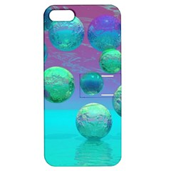 Ocean Dreams, Abstract Aqua Violet Ocean Fantasy Apple Iphone 5 Hardshell Case With Stand