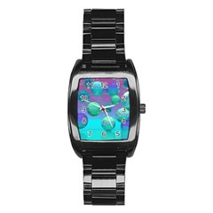 Ocean Dreams, Abstract Aqua Violet Ocean Fantasy Stainless Steel Barrel Watch