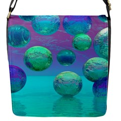 Ocean Dreams, Abstract Aqua Violet Ocean Fantasy Flap Closure Messenger Bag (Small)