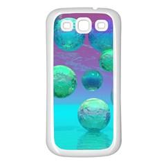 Ocean Dreams, Abstract Aqua Violet Ocean Fantasy Samsung Galaxy S3 Back Case (White)