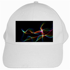 Fluted Cosmic Rafluted Cosmic Rainbow, Abstract Winds White Baseball Cap