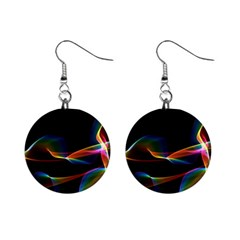 Fluted Cosmic Rafluted Cosmic Rainbow, Abstract Winds Mini Button Earrings