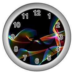 Fluted Cosmic Rafluted Cosmic Rainbow, Abstract Winds Wall Clock (Silver)
