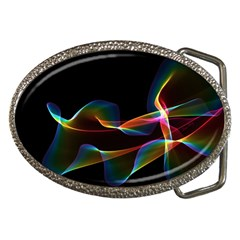 Fluted Cosmic Rafluted Cosmic Rainbow, Abstract Winds Belt Buckle (Oval)