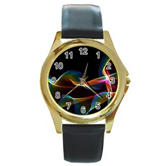 Fluted Cosmic Rafluted Cosmic Rainbow, Abstract Winds Round Leather Watch (Gold Rim)