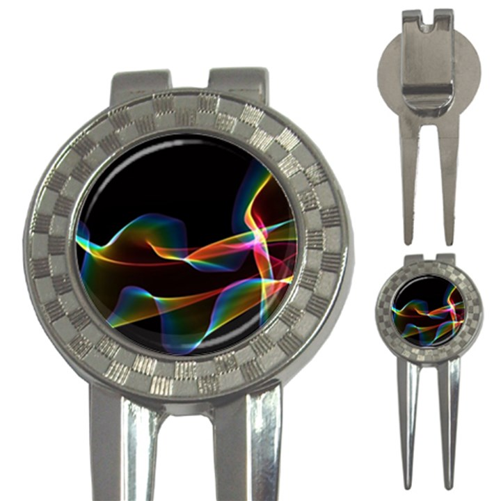 Fluted Cosmic Rafluted Cosmic Rainbow, Abstract Winds Golf Pitchfork & Ball Marker