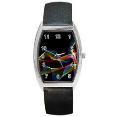 Fluted Cosmic Rafluted Cosmic Rainbow, Abstract Winds Tonneau Leather Watch