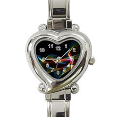 Fluted Cosmic Rafluted Cosmic Rainbow, Abstract Winds Heart Italian Charm Watch
