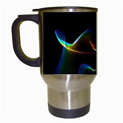 Fluted Cosmic Rafluted Cosmic Rainbow, Abstract Winds Travel Mug (White)