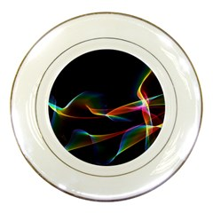 Fluted Cosmic Rafluted Cosmic Rainbow, Abstract Winds Porcelain Display Plate
