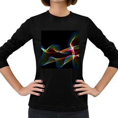 Fluted Cosmic Rafluted Cosmic Rainbow, Abstract Winds Women s Long Sleeve T Shirt (dark Colored)