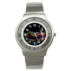 Fluted Cosmic Rafluted Cosmic Rainbow, Abstract Winds Stainless Steel Watch (slim)