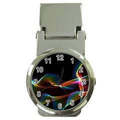 Fluted Cosmic Rafluted Cosmic Rainbow, Abstract Winds Money Clip with Watch