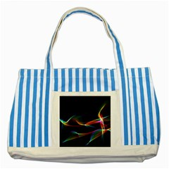 Fluted Cosmic Rafluted Cosmic Rainbow, Abstract Winds Blue Striped Tote Bag