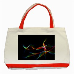 Fluted Cosmic Rafluted Cosmic Rainbow, Abstract Winds Classic Tote Bag (Red)
