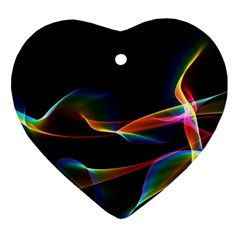 Fluted Cosmic Rafluted Cosmic Rainbow, Abstract Winds Heart Ornament (Two Sides)