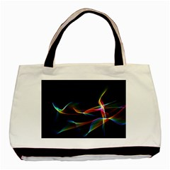 Fluted Cosmic Rafluted Cosmic Rainbow, Abstract Winds Twin-sided Black Tote Bag