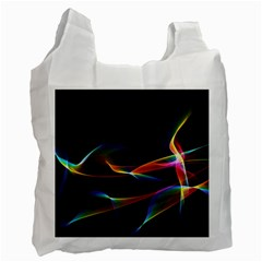 Fluted Cosmic Rafluted Cosmic Rainbow, Abstract Winds White Reusable Bag (One Side)