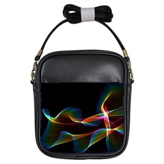 Fluted Cosmic Rafluted Cosmic Rainbow, Abstract Winds Girl s Sling Bag
