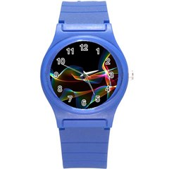 Fluted Cosmic Rafluted Cosmic Rainbow, Abstract Winds Plastic Sport Watch (small)