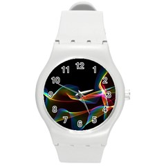 Fluted Cosmic Rafluted Cosmic Rainbow, Abstract Winds Plastic Sport Watch (Medium)
