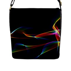 Fluted Cosmic Rafluted Cosmic Rainbow, Abstract Winds Flap Closure Messenger Bag (Large)