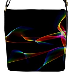 Fluted Cosmic Rafluted Cosmic Rainbow, Abstract Winds Flap Closure Messenger Bag (Small)