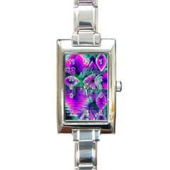 Teal Violet Crystal Palace, Abstract Cosmic Heart Rectangular Italian Charm Watch