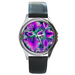 Teal Violet Crystal Palace, Abstract Cosmic Heart Round Leather Watch (Silver Rim)